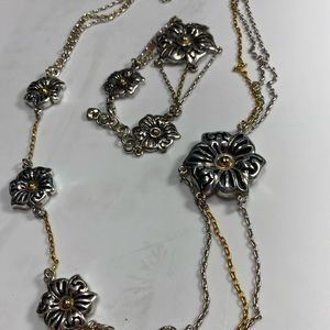 Brighton Bracelet Necklace Floral Two Toned Set